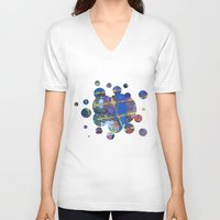 grid V-neck T-shirts featuring Grid by Heather Plewes Art