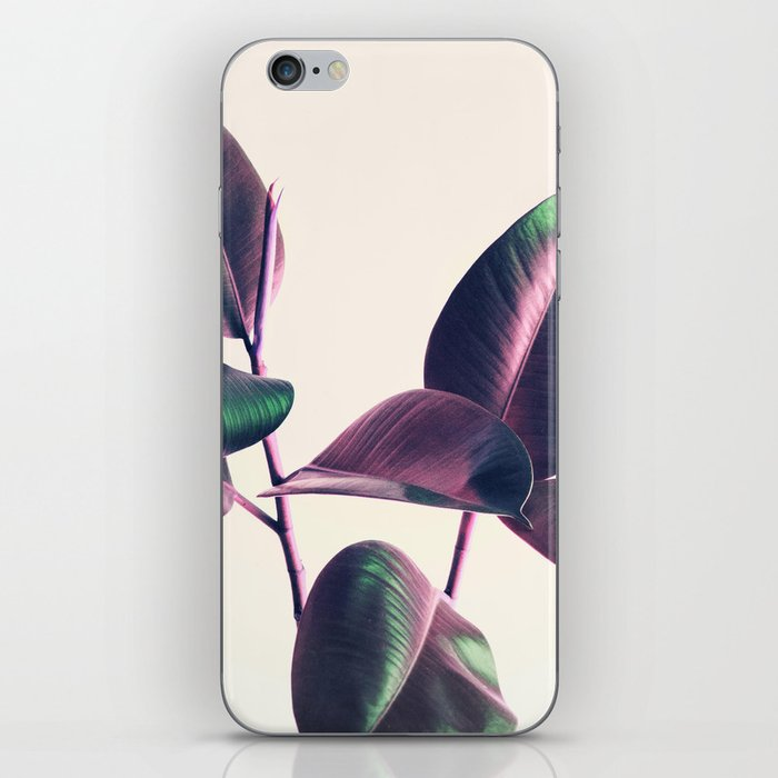 Pink and Green Iridescent Leaves iPhone Skin