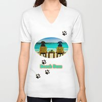 beach V-neck T-shirts featuring Beach Bums by Roger Wedegis