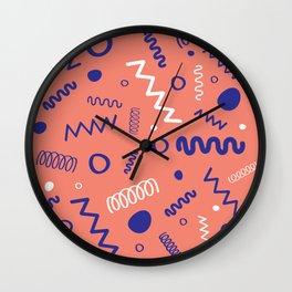 Memphis Peach Blue White Hand Drawn Pattern Wall Clock