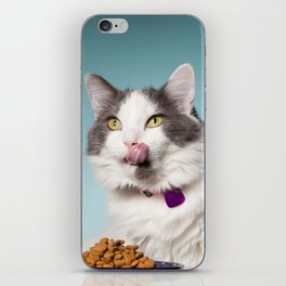 Hungry Cat Licking Face iPhone Skin