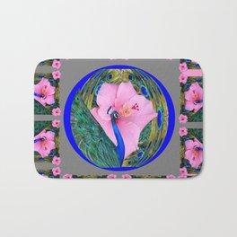 GREY PINK HIBISCUS FLOWERS & BLUE-GREEN PEACOCK Bath Mat