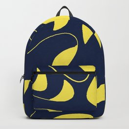 Leafy Vines Yellow and Navy Blue Backpack