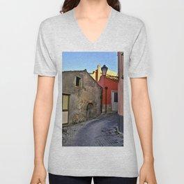 Medieval village of Sicily Unisex V-Neck