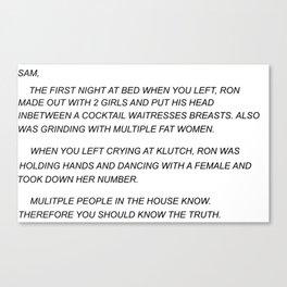 Sammi Sweetheart Letter Canvas Print