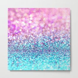 Pastel sparkle- photograph of pink and turquoise glitter Metal Print