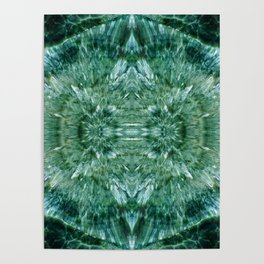 Abstract Kaleidoscope Green Mineral Crystal Texture Poster