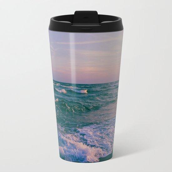 Sunset Crashing Waves Metal Travel Mug