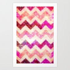 Glitter Pink Chevron - for iphone Art Print