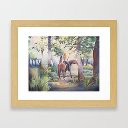 Quiet Woodland Horse Ride Framed Art Print