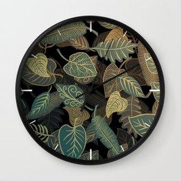 Green Leaves Descending Wall Clock