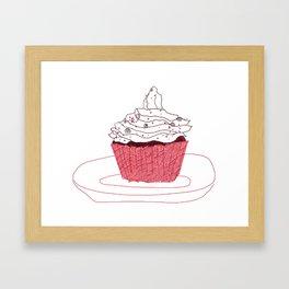 Red Velvet Vegan Cupcake  Framed Art Print