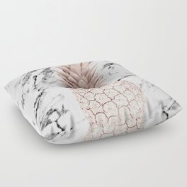 Rose Gold Pineapple on Black and White Marble Floor Pillow