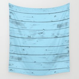 Blue Wood Texture Wall Tapestry