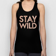 STAY WILD Rose Gold on Black Unisex Tank Top