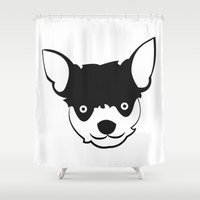 chihuahua Shower Curtains featuring Chihuahua by anabelledubois