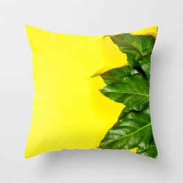 Tropical leaves on pastel yellow background. minimal concept. Flat lay. Throw Pillow