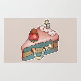 SWEET WORMS 3 - strawberry cake Rug