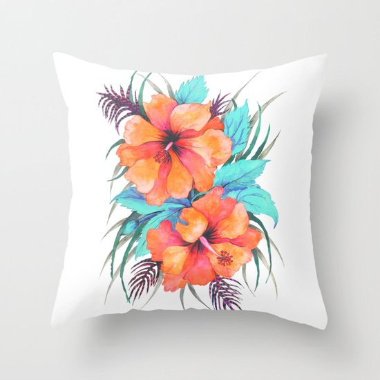 TROPICAL FLOWER {orange hibiscus}  Throw Pillow