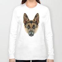 german shepherd Long Sleeve T-shirts featuring German Shepherd // Blue by peachandguava