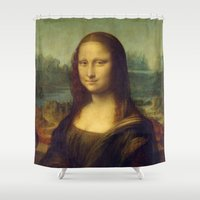 mona lisa Shower Curtains featuring Mona Lisa by Leonardo da Vinci by Palazzo Art Gallery