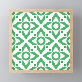 illustration decorative green seamless vector pattern floral motifs Framed Mini Art Print