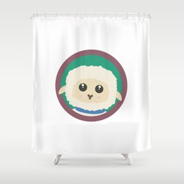 Cute Sheep with purple Circle Shower Curtain