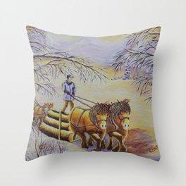 Woodcutting | Voyage de bois Throw Pillow