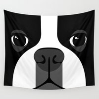 boston terrier Wall Tapestries featuring Boston Terrier Close Up by Anne Was Here