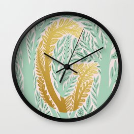 botanical Metallic Monogram - Letter G Wall Clock