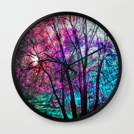 Purple teal forest Wall Clock