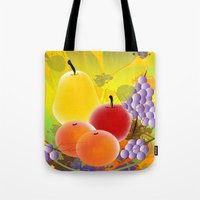 fruit Tote Bags featuring Fruit by Ramon J Butler-Martinez