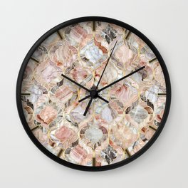 Rosy Marble Moroccan Tile Pattern Wall Clock