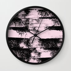 Pink Black Abstract texture  Wall Clock
