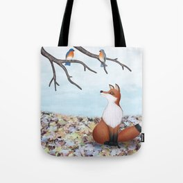 fox and eastern bluebirds Tote Bag