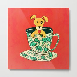 Dinnerware Sets - puppy in a teacup Metal Print