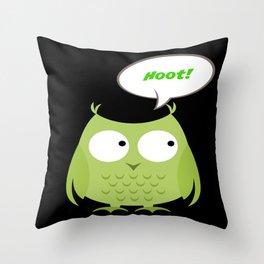 Owl Cartoon - Hoot Throw Pillow