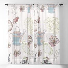 Cozy kitchen garden Sheer Curtain