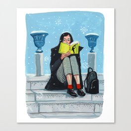 Reading in the Snow Canvas Print