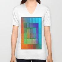 aperture V-neck T-shirts featuring Aperture #2 Fractal Pleat Texture Colorful Design by CAP Artwork & Design