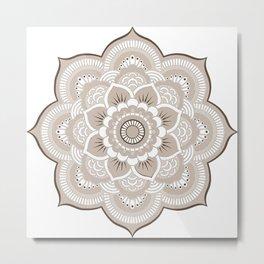 Beige & White Mandala Metal Print