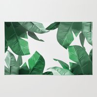 palm Area & Throw Rugs featuring Tropical Palm Print by Tamsin Lucie
