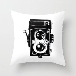 Big Vintage Camera Love - Black Throw Pillow