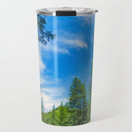 Siberian mountain taiga, mountains in the clouds, Altai Travel Mug