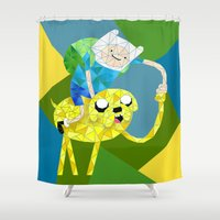finn and jake Shower Curtains featuring Jake and Finn by victorygarlic