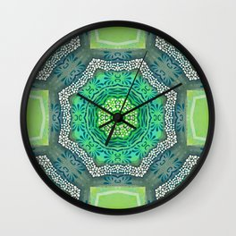 Octagon Kaleidoscope Flower in Green Turquoise and Gray Wall Clock