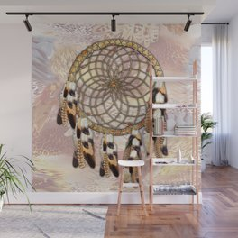 Pelican or Hawk Feather Dream catcher Wall Mural