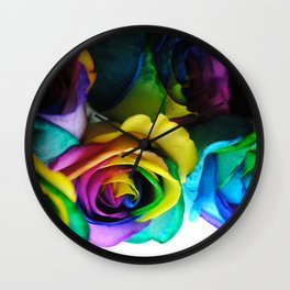 Rainbow Roses 19 Wall Clock