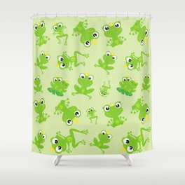 Pattern Of Frogs, Frog Prince, Frog Princess Shower Curtain