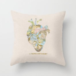 A Traveller's Heart (UK) Throw Pillow